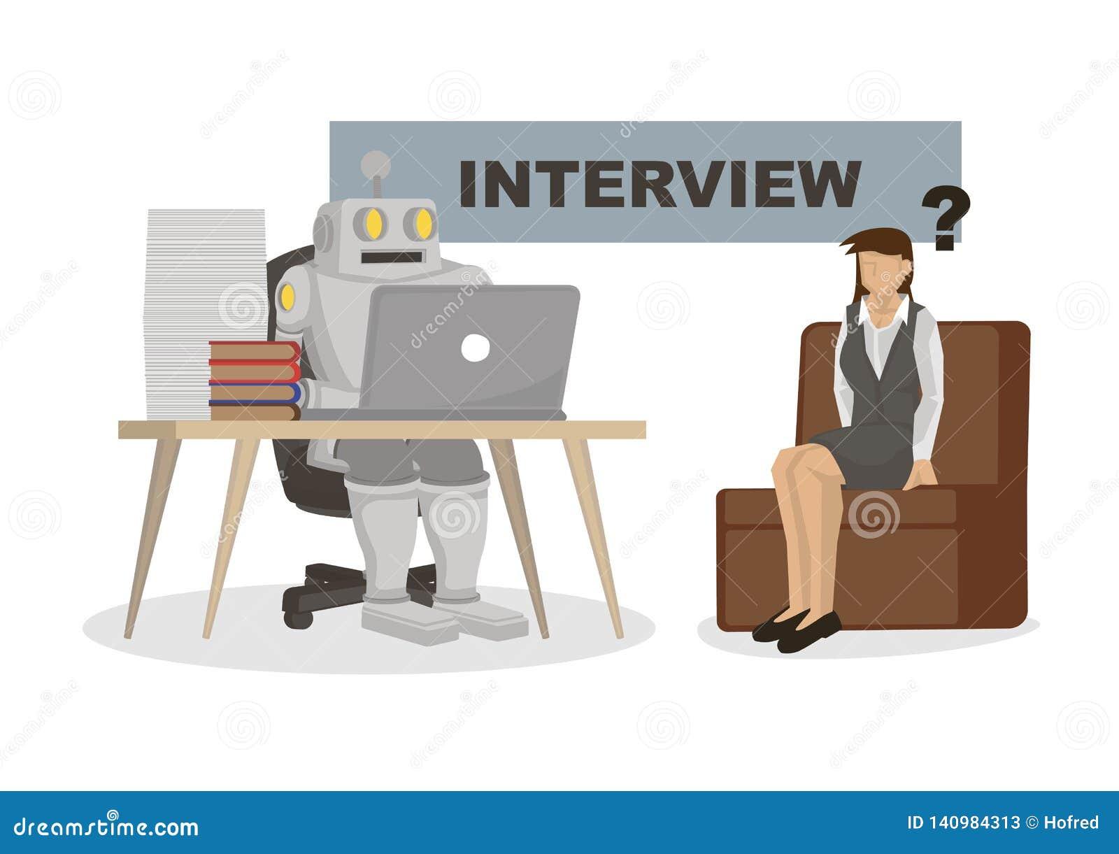 Ρομπότ που παίρνει συνέντευξη από έναν εργαζόμενο γραφείων Απεικονίζει την αυτοματοποίηση, τη μελλοντική αγορά εργασίας και την τ