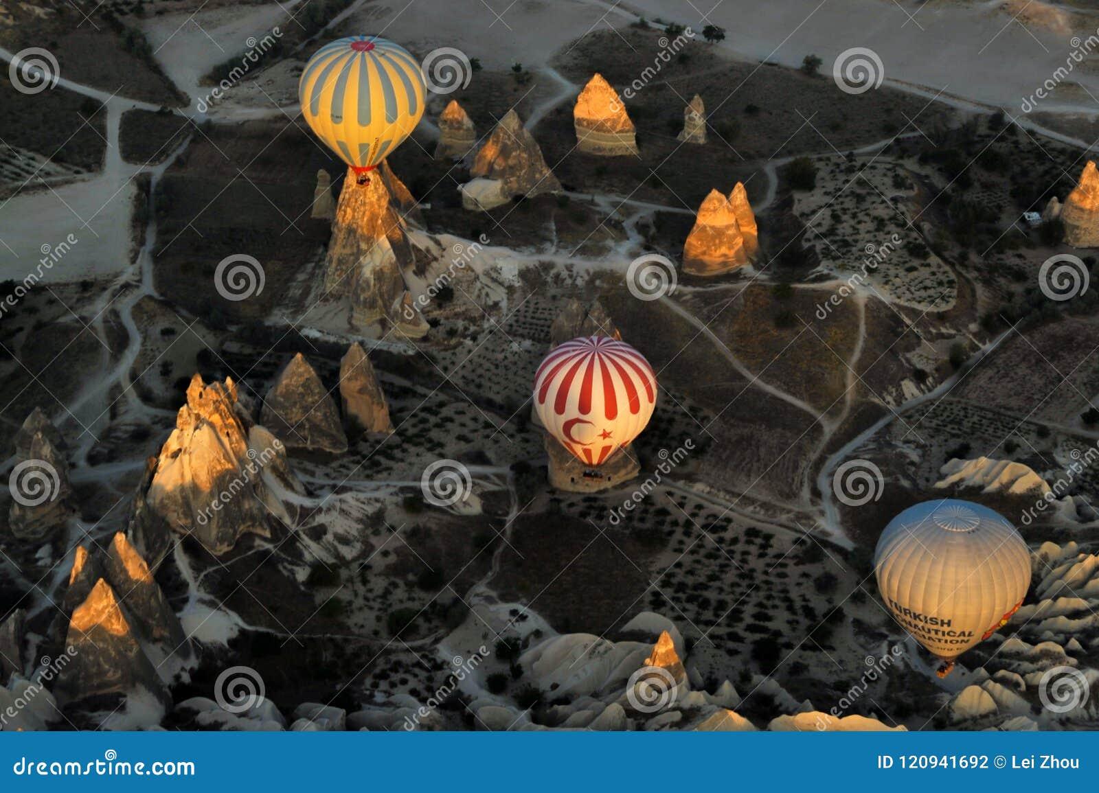 A beautiful scene on a hot air balloon,Cappadocia,Turkey