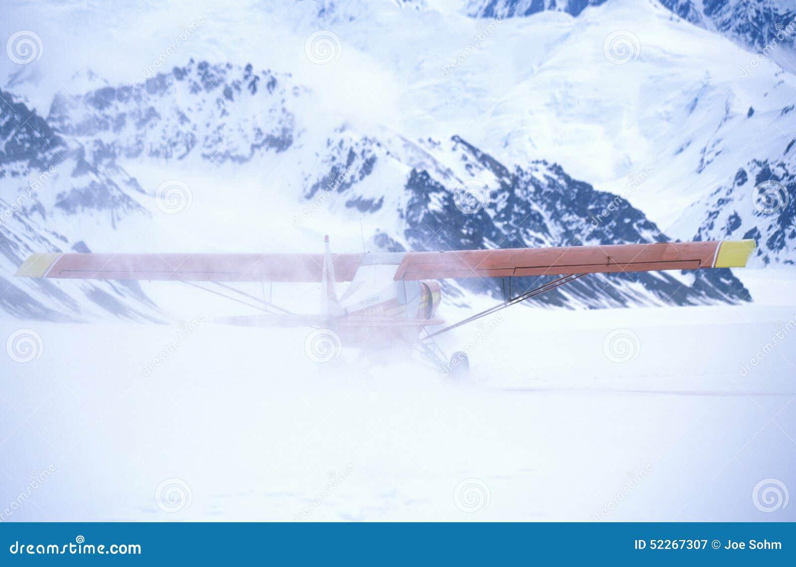 Super Cub  Piper Bush Airplane On Glacier In St  Elias