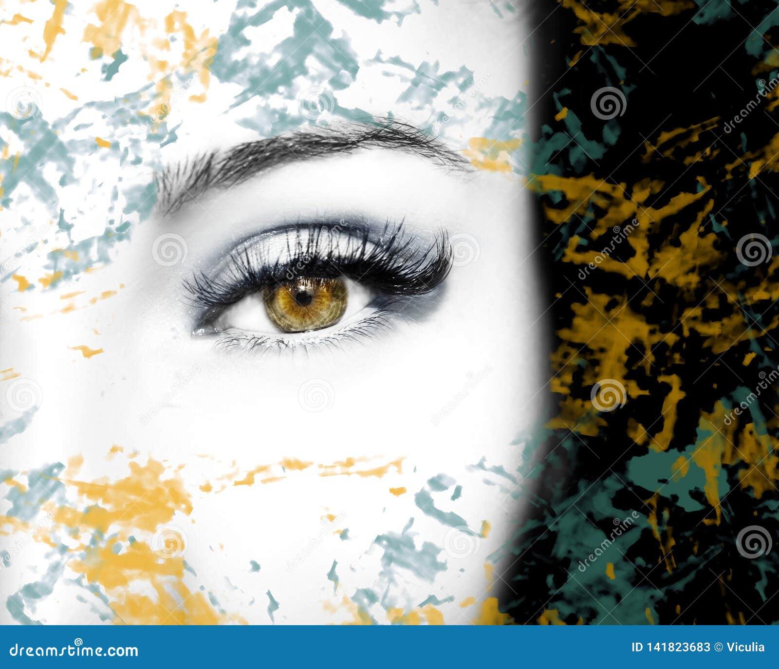Όμορφος ένας οξυδερκής φαίνεται μάτι με τα αφηρημένα σημεία Κλείστε αυξημένος