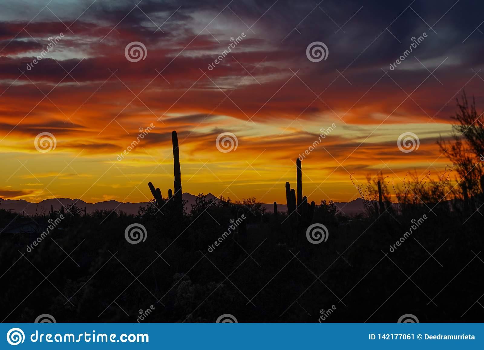 Όμορφο πρόσφατο ηλιοβασίλεμα ερήμων της Αριζόνα