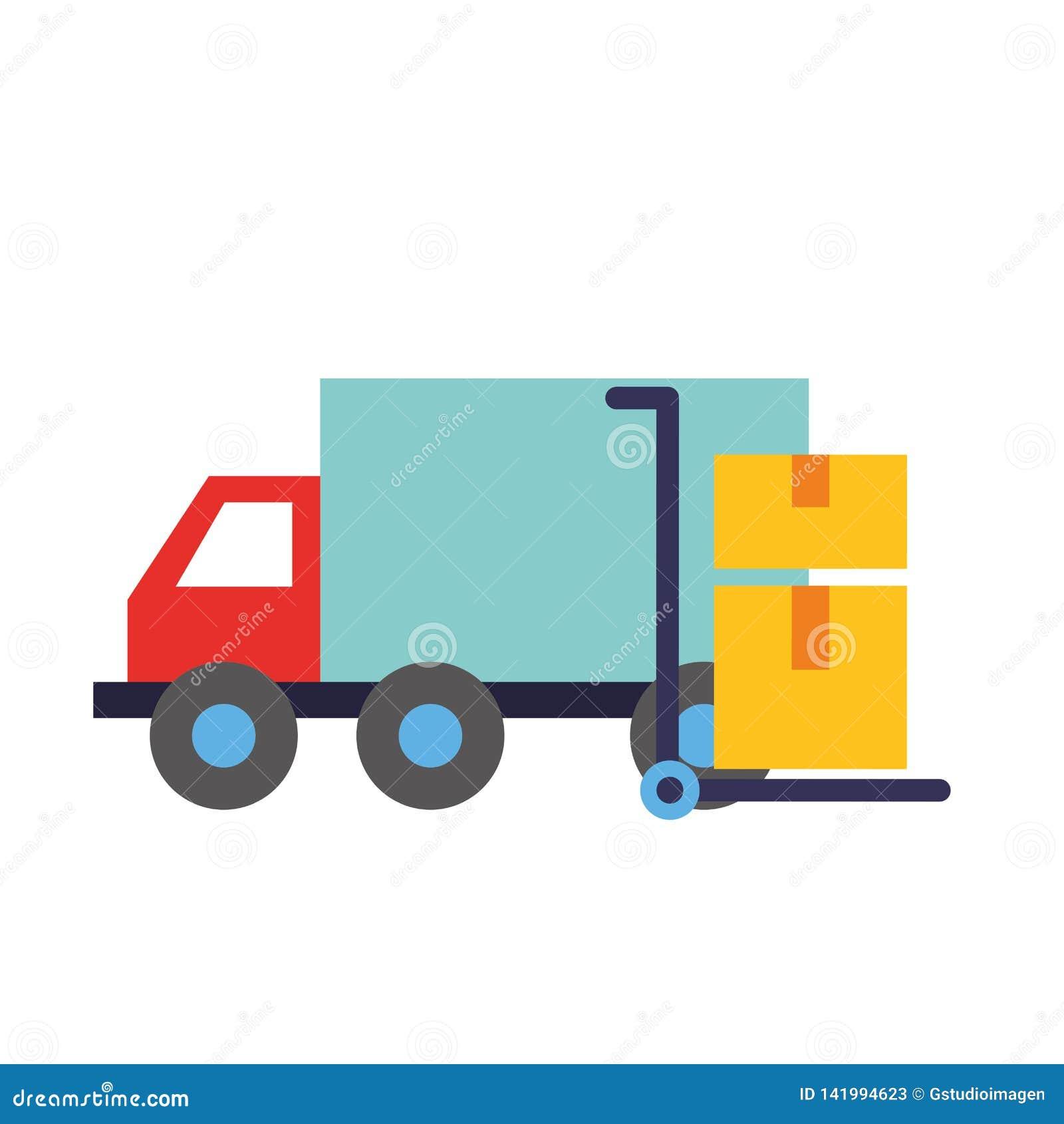 Σε απευθείας σύνδεση κάρρο φορτηγών αγορών με τα κουτιά από χαρτόνι