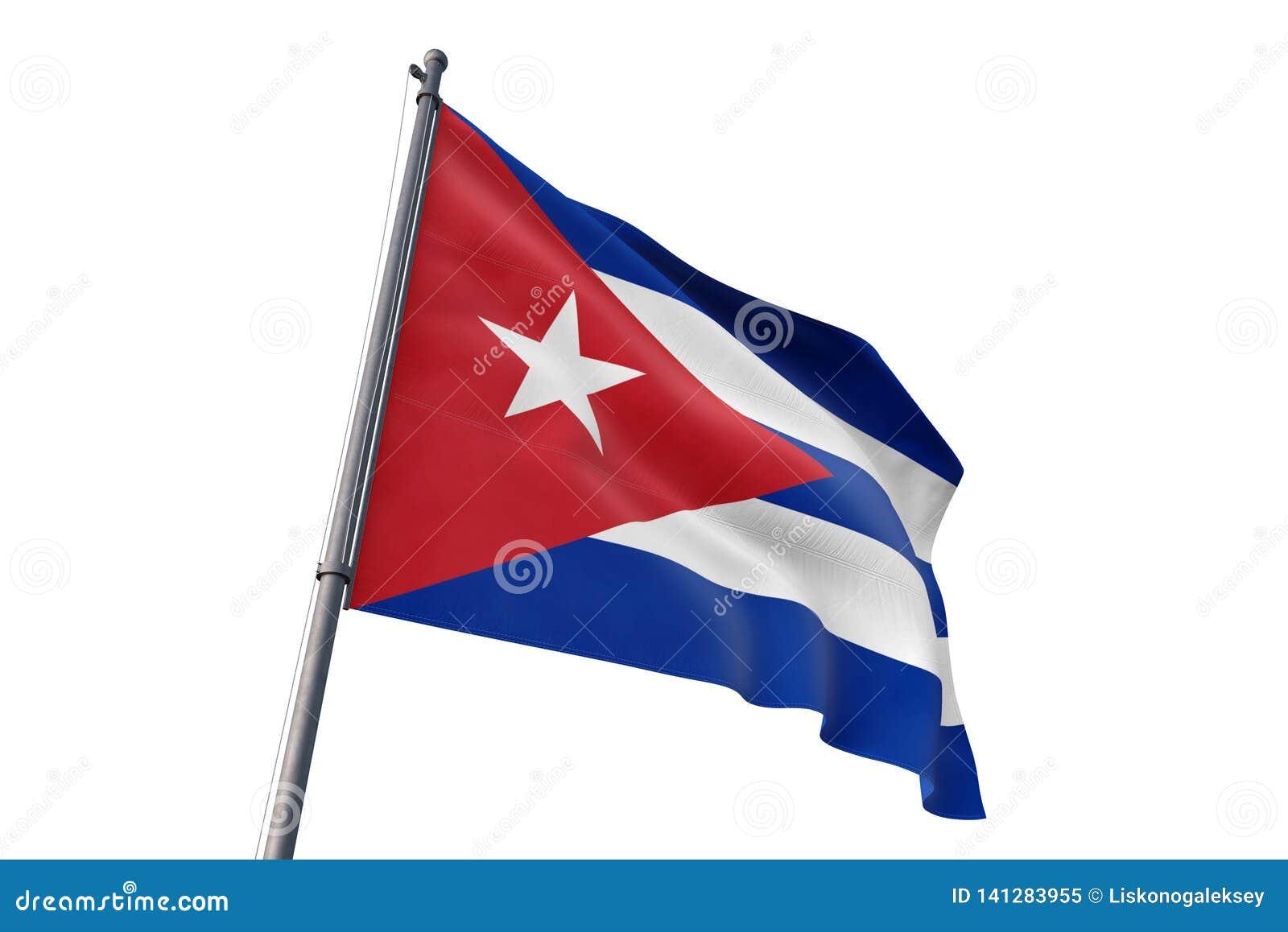 Σημαία της Κούβας που κυματίζει την απομονωμένη άσπρη τρισδιάστατη απεικόνιση υποβάθρου