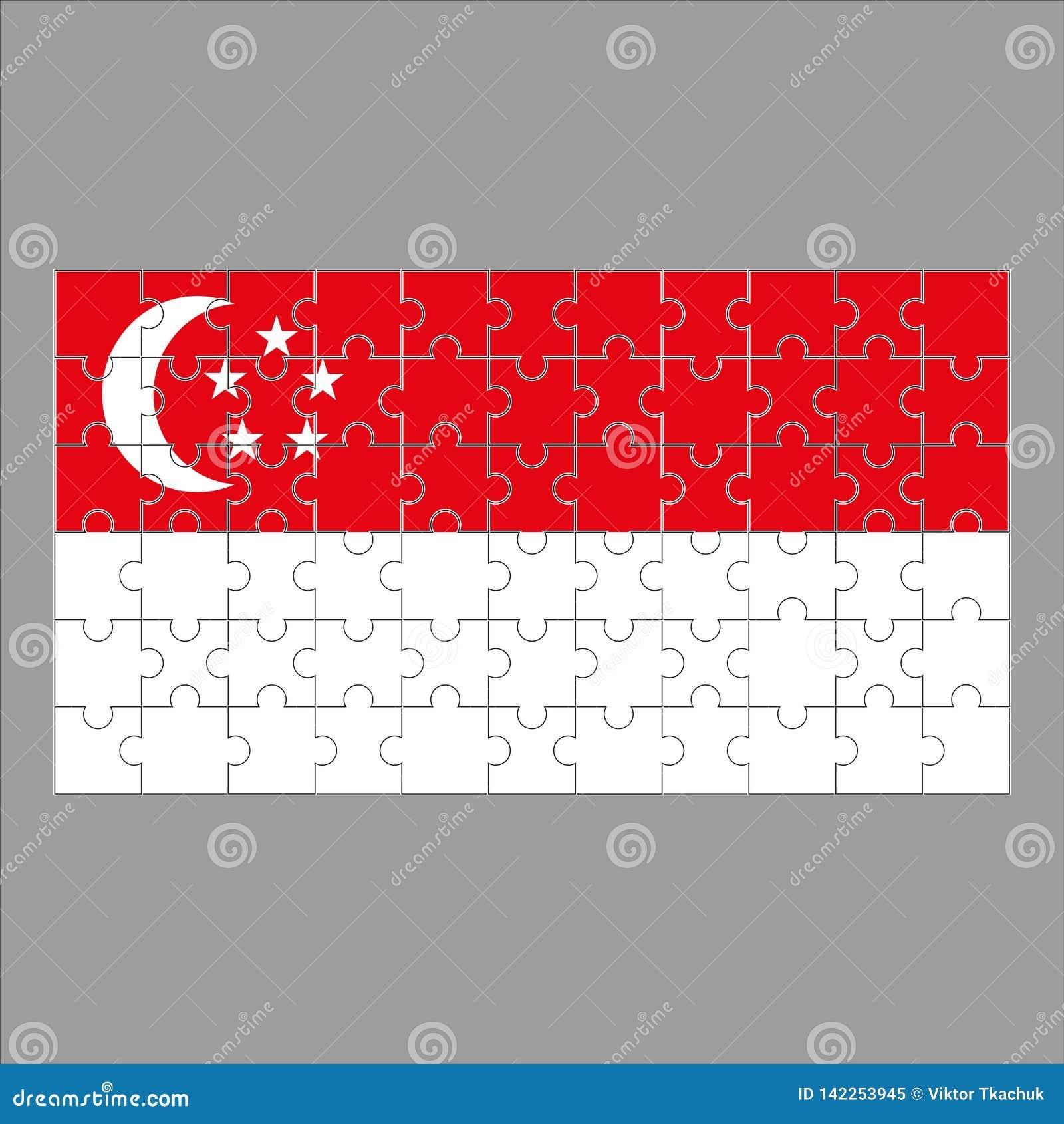 Σημαία της Σιγκαπούρης από τους γρίφους σε ένα γκρίζο υπόβαθρο