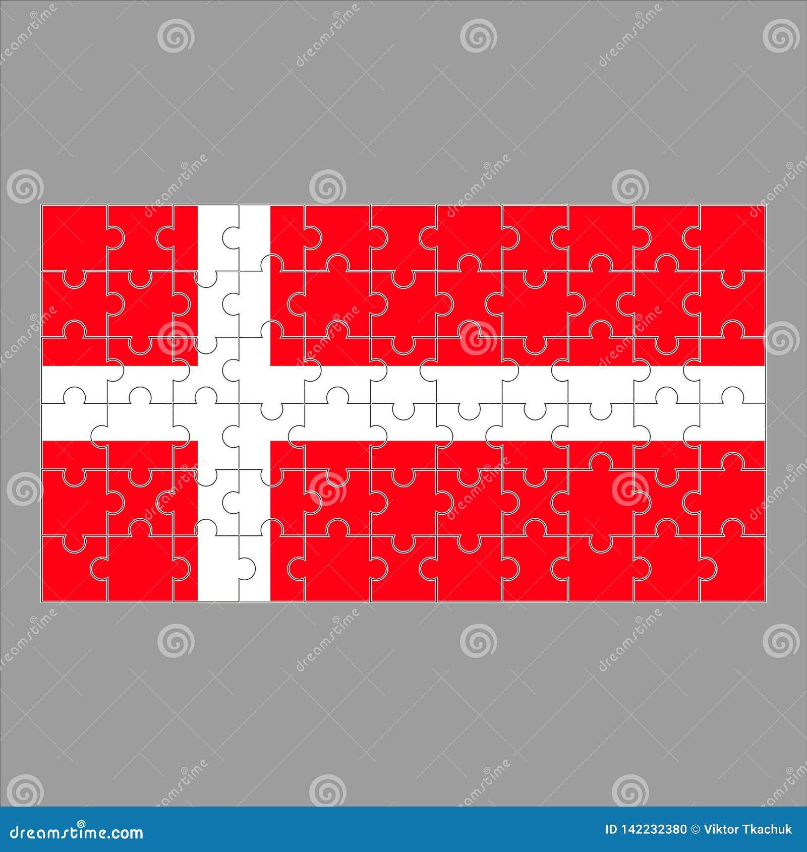 Σημαία του γρίφου της Δανίας στο γκρίζο υπόβαθρο