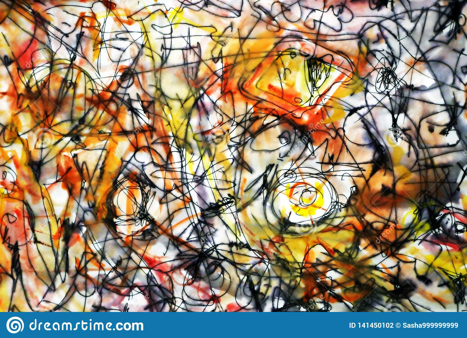 Σκίτσο στο ύφος αφηρημένο expressionism Αφηρημένο υπόβαθρο στους καφετιούς κίτρινους και κόκκινους τόνους