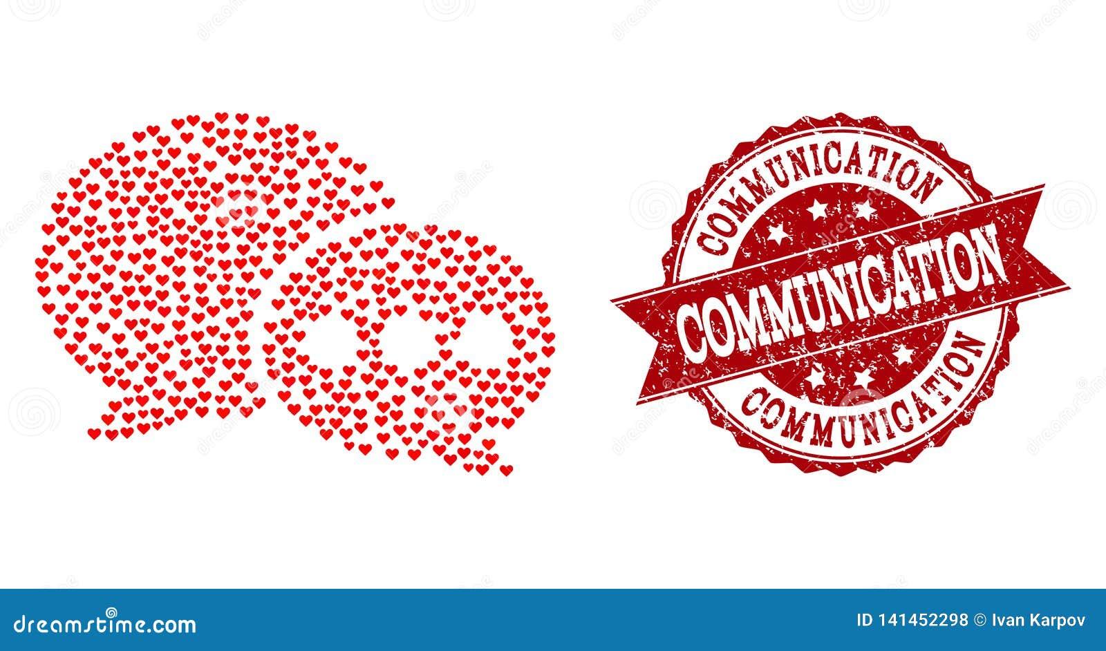 Σύνθεση καρδιών βαλεντίνων του εικονιδίου μηνυμάτων φόρουμ και του υδατοσήμου Grunge