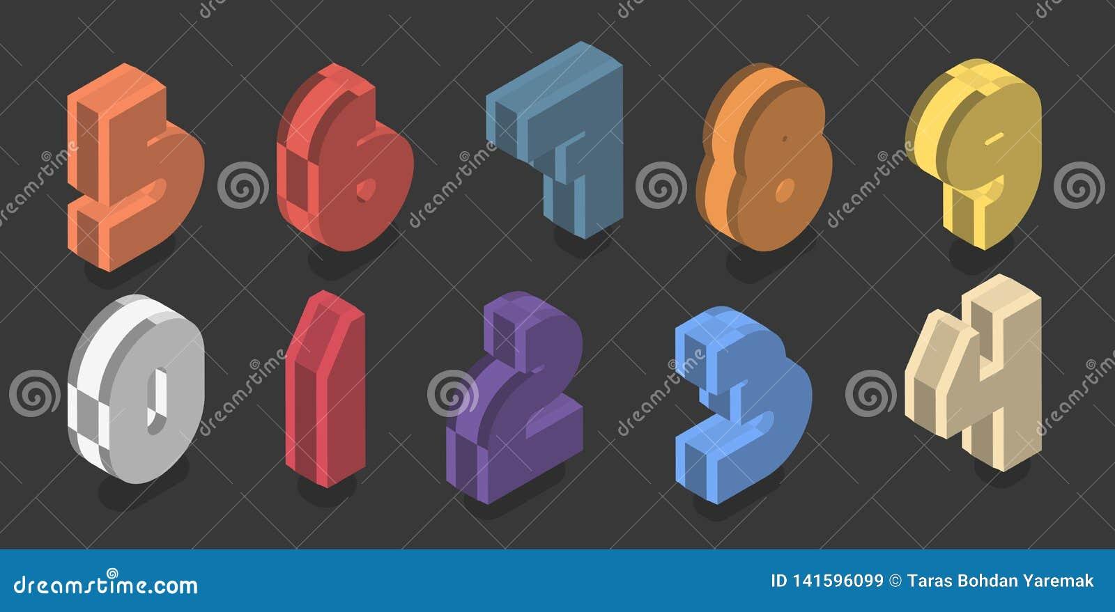 Σύνολο δέκα isometric αριθμών από μηδέν έως εννέα Διανυσματικό τρισδιάστατο πλαστικό σχέδιο αριθμού
