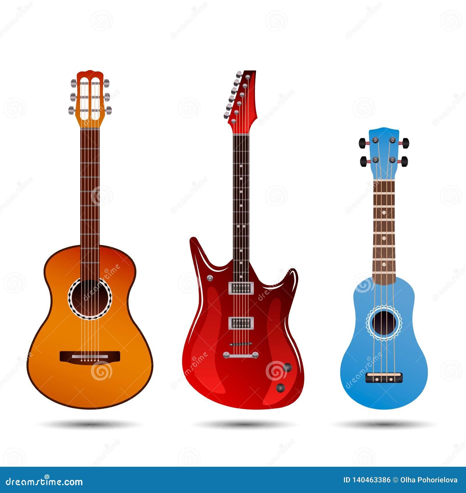 Σύνολο διαφορετικών φωτεινών ρεαλιστικών κιθάρων Αναδρομική ακουστική κιθάρα, ηλεκτρική κιθάρα βράχου και λίγο μπλε ukulele Επίπε