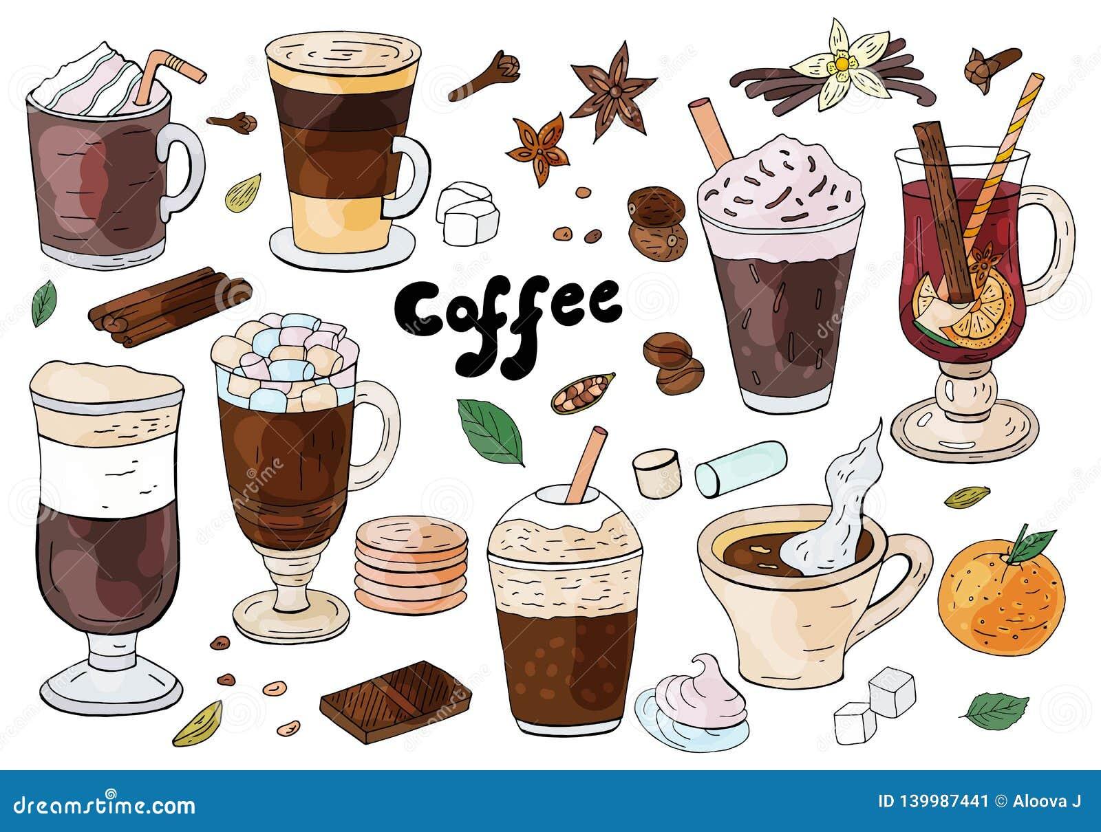 Σύνολο συρμένων χέρι διαφορετικών τύπων καφέδων στο άσπρο υπόβαθρο Για τις επιλογές καφέδων