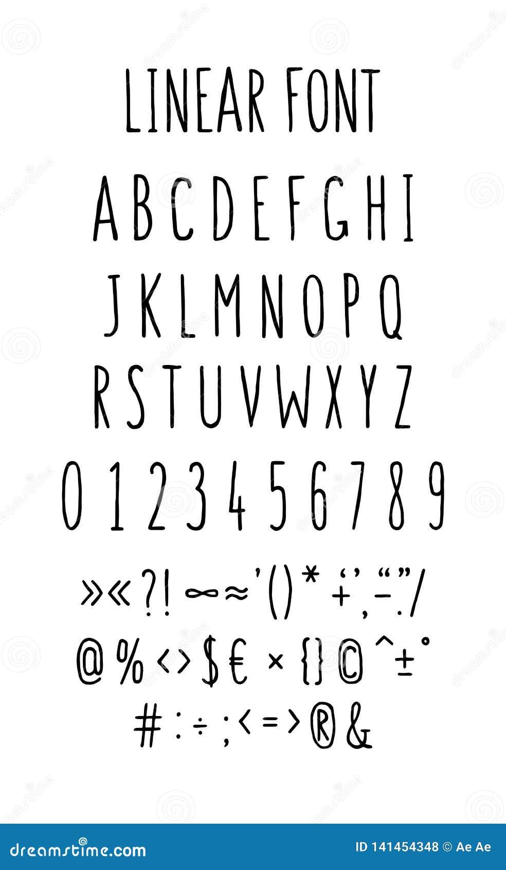 Σύνολο πηγών επιστολών και συμβόλων διάνυσμα Γραμμικές, επιστολές περιγράμματος Επίπεδο ύφος Λεπτά κεφαλαία γράμματα που τεντώνον