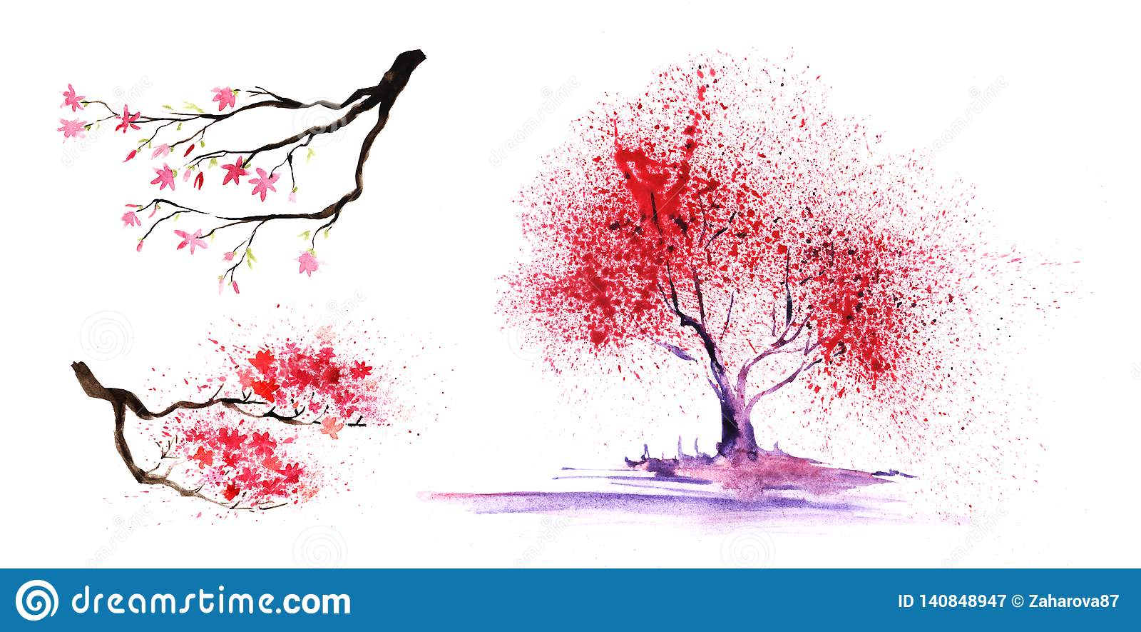Σύνολο eelements thtree Αφηρημένοι χρώμα-δέντρο και κλάδοι με μια θαυμάσια κορώνα Hand-drawn απεικόνιση watercolor