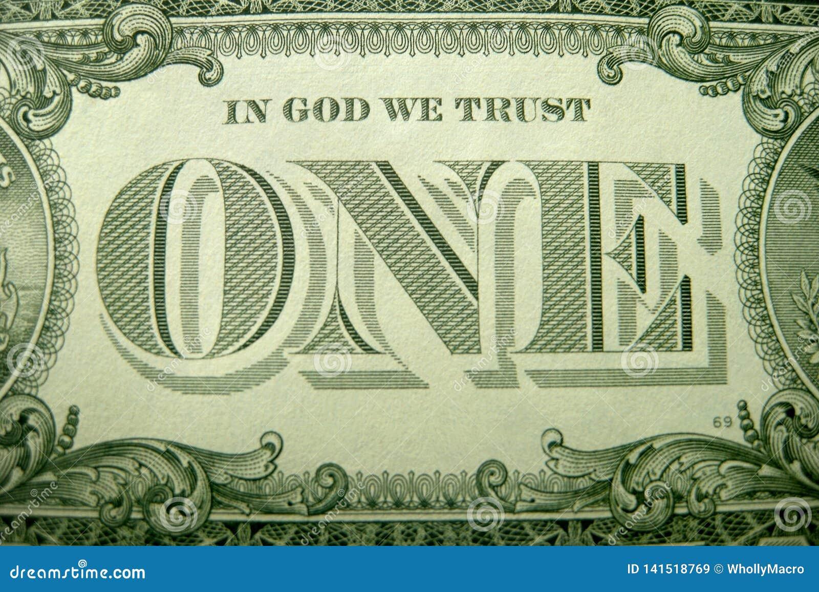 Στο ΘΕΟ ΕΜΠΙΣΤΕΥΟΜΑΣΤΕ και ΕΝΑ που πλαισιώνεται ornately από τα διακοσμητικά στοιχεία από το αμερικανικό δολάριο