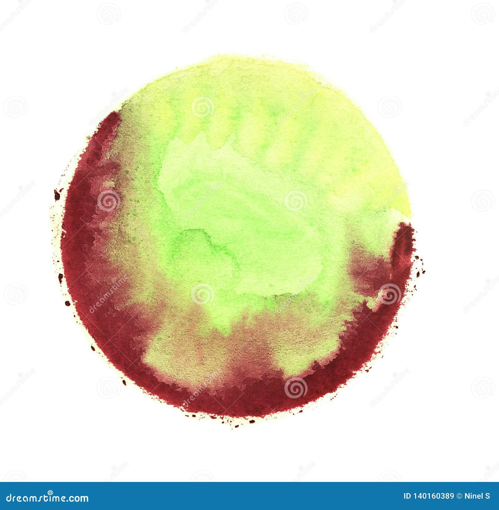 Σφαίρα Watercolor αφηρημένη ζωγραφική Χλωμιάστε - πράσινο και κόκκινο χρώμα Κενό λεκιασμένο περίληψη υπόβαθρο σύστασης Ελεύθερο σ