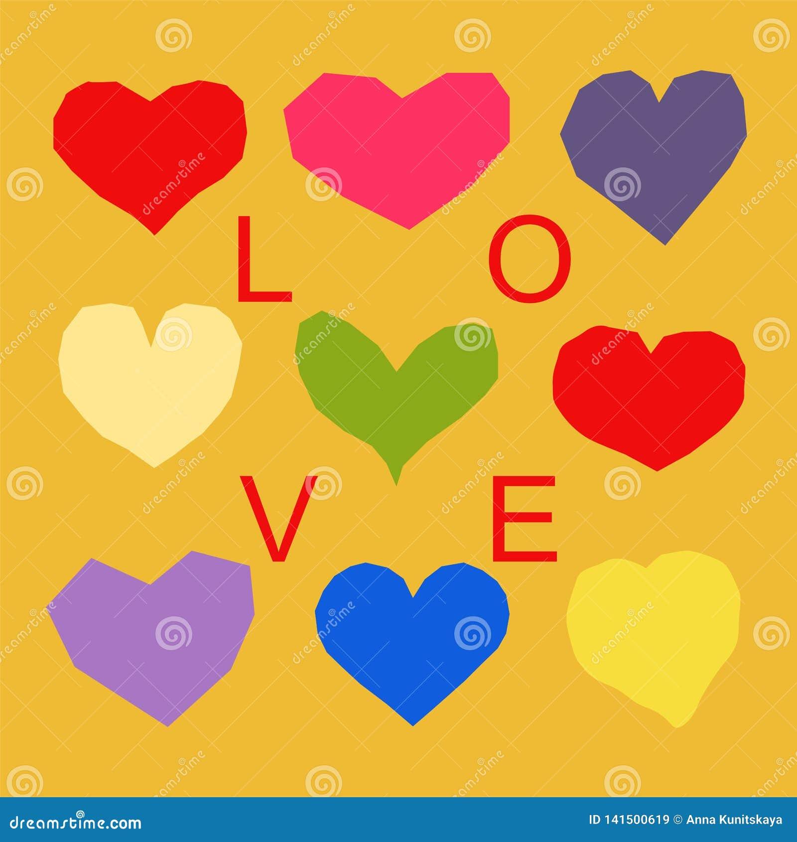 Σχέδιο καρδιών με τη λέξη αγάπης