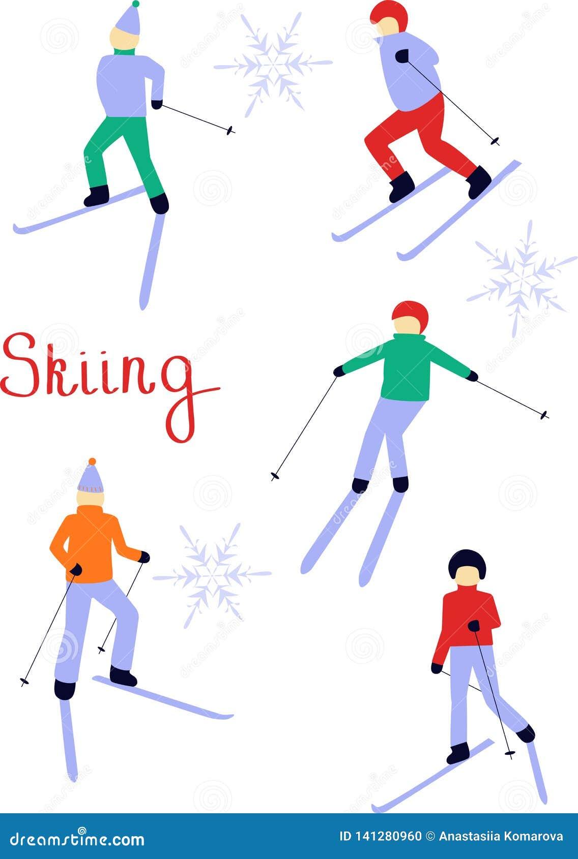 Σχέδιο των κάνοντας σκι ανθρώπων Απεικόνιση Χριστουγέννων Χειμερινός αθλητισμός