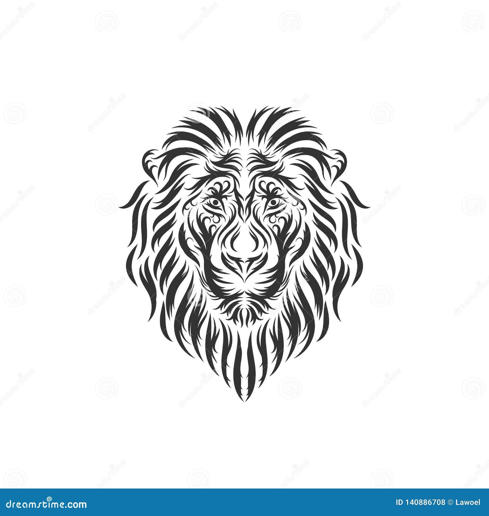 Συρμένες χέρι επικεφαλής εμπνεύσεις λιονταριών