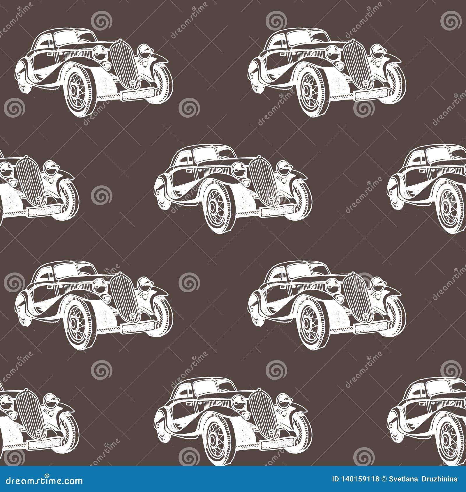 Συρμένο χέρι doodle άνευ ραφής σχέδιο αυτοκινήτων κινούμενων σχεδίων Ταπετσαρία για το αγοράκι Σκίτσο μεταφορών