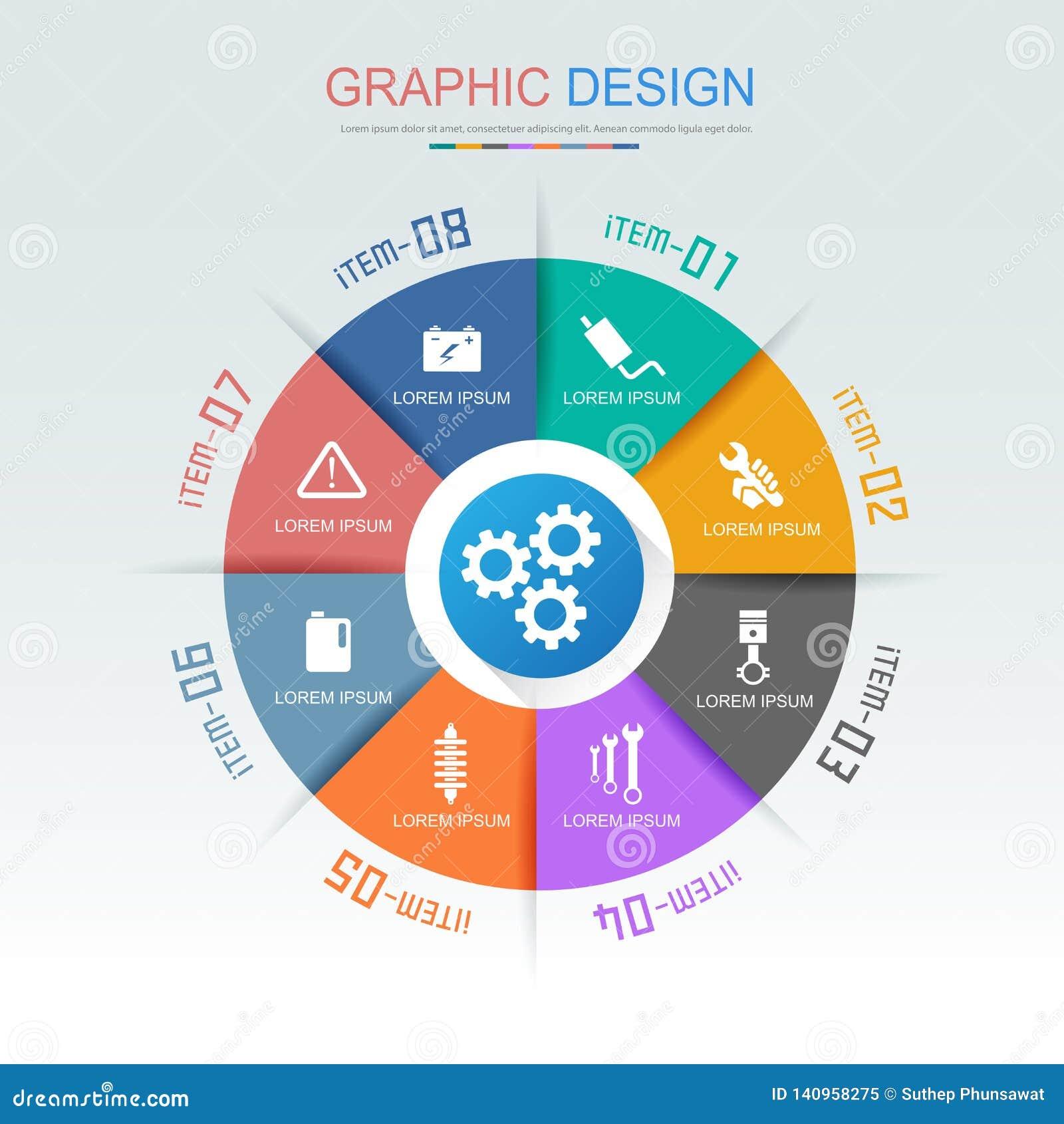 Τα στοιχεία Infographic κύκλων με το εικονίδιο υπηρεσιών αυτοκινήτων στο πλήρες υπόβαθρο χρώματος περιβάλλουν - επεξεργαστείτε το
