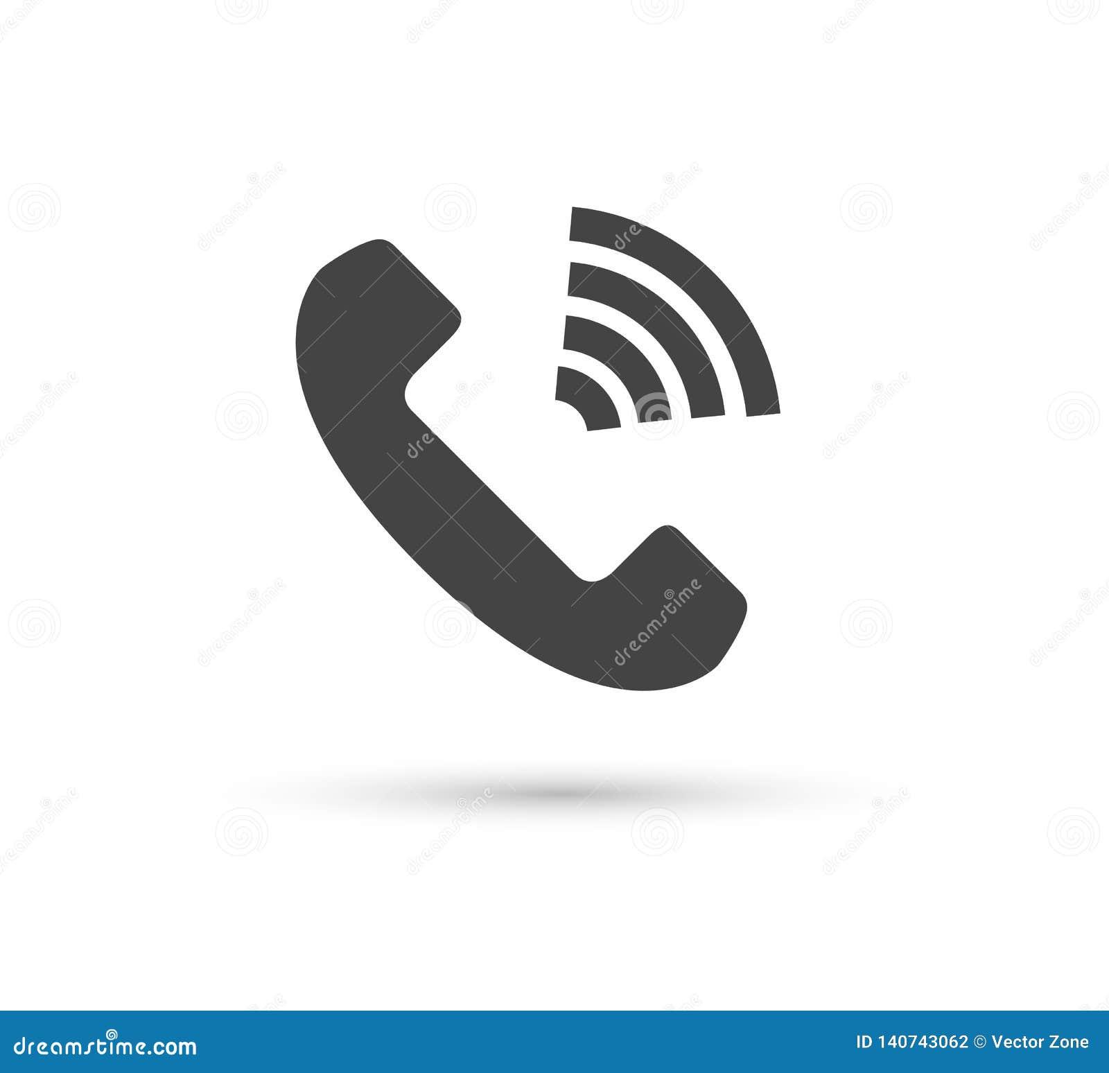 Τηλεφωνικό διανυσματικό εικονίδιο διανυσματικό επίπεδο λογότυπο ύφους Μικροτηλέφωνο με την απεικόνιση σκιών Εύκολη έκδοση της απε