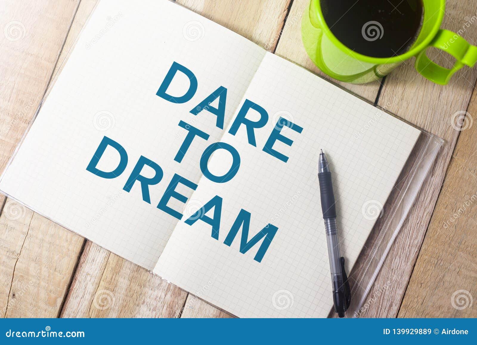 τολμήστε να ονειρευτείτε Έννοια τυπογραφίας λέξεων
