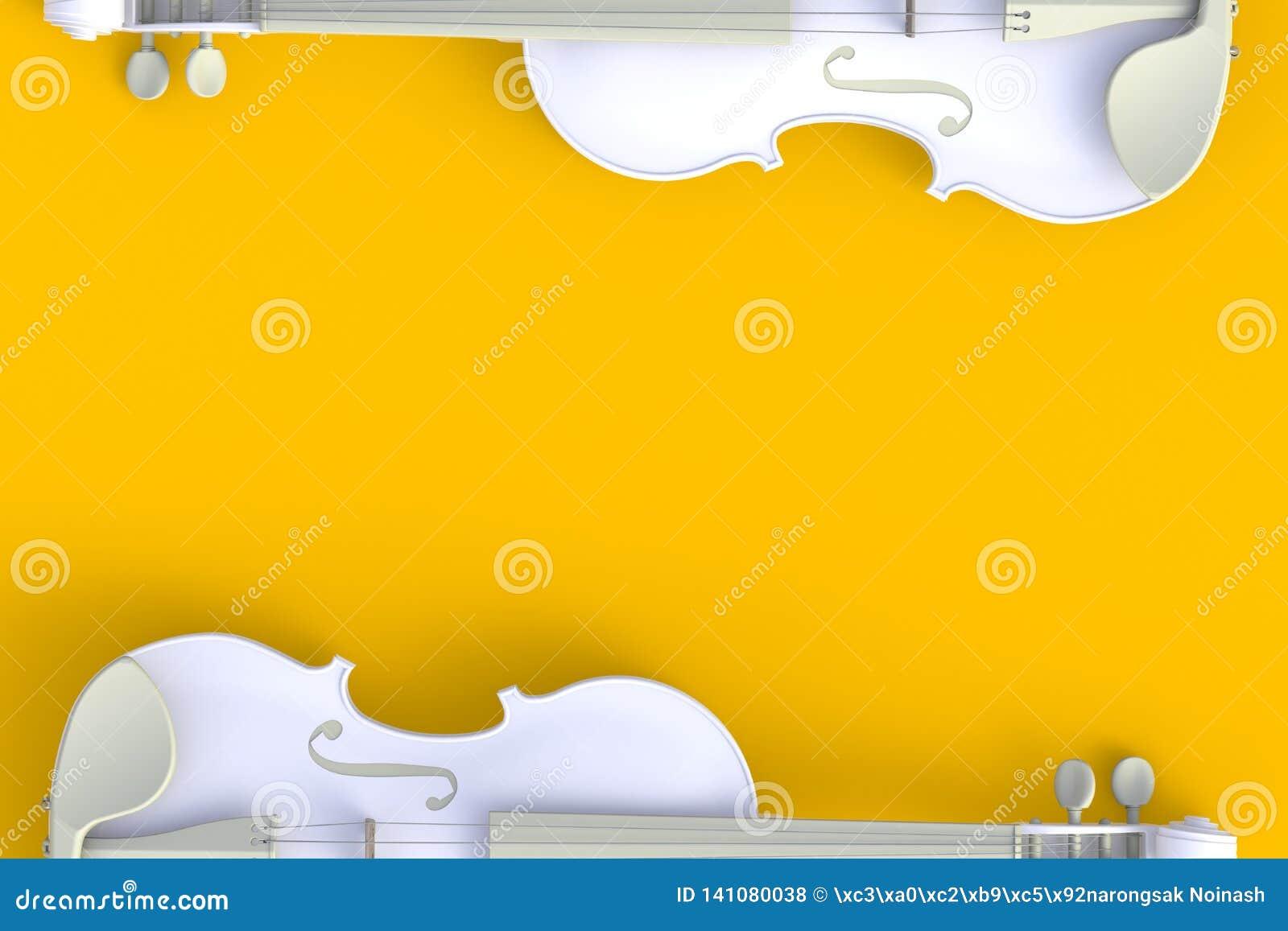 Τοπ άποψη του κλασσικού άσπρου βιολιού που απομονώνεται στο κίτρινο υπόβαθρο, όργανο σειράς