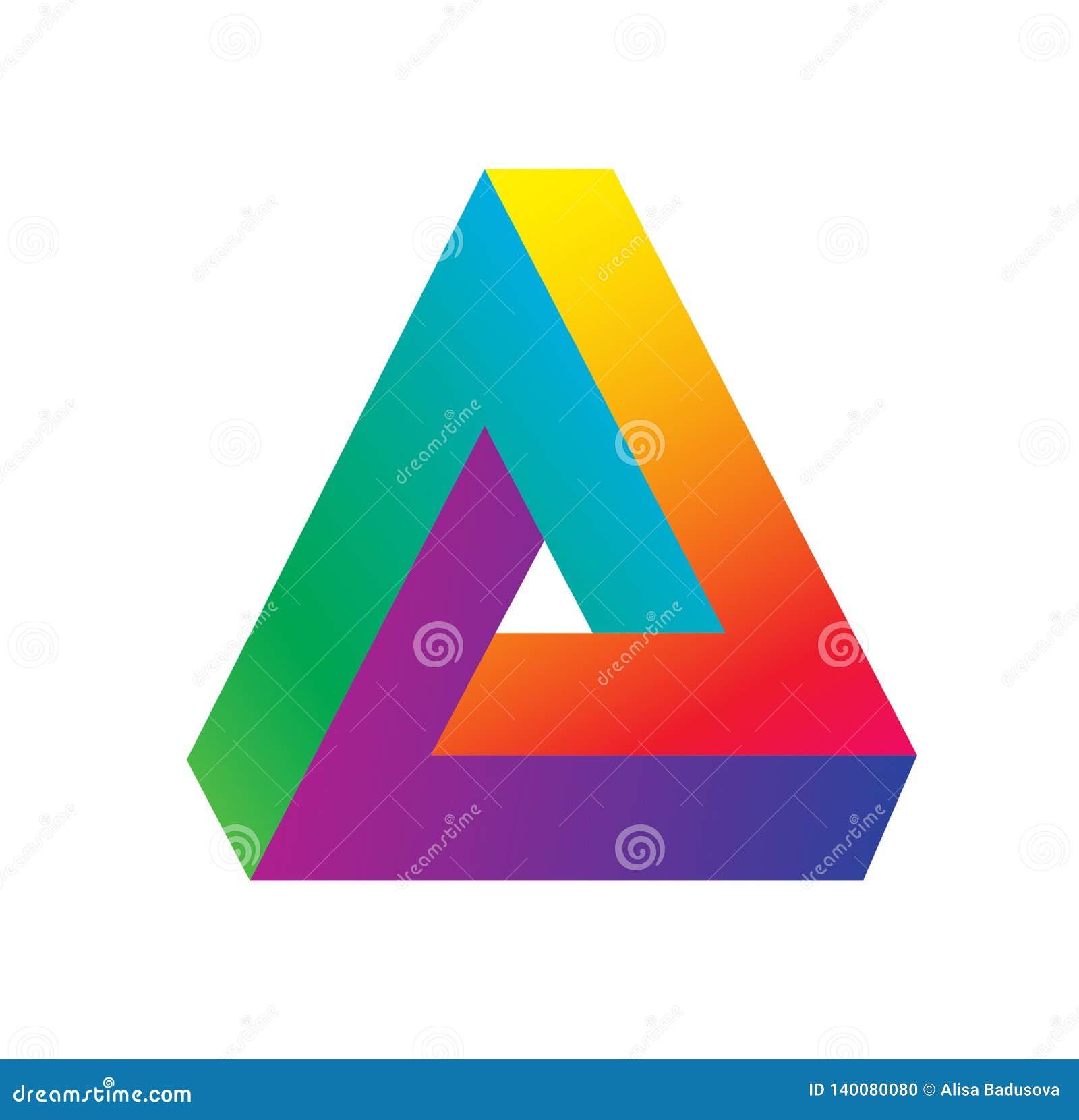 Το λογότυπο τριγώνων isometric, απείρου αιχμηρή παραίσθηση μορφής γωνιών γεωμετρική, hipster μονόγραμμα συγκλίνει επικαλύπτοντας