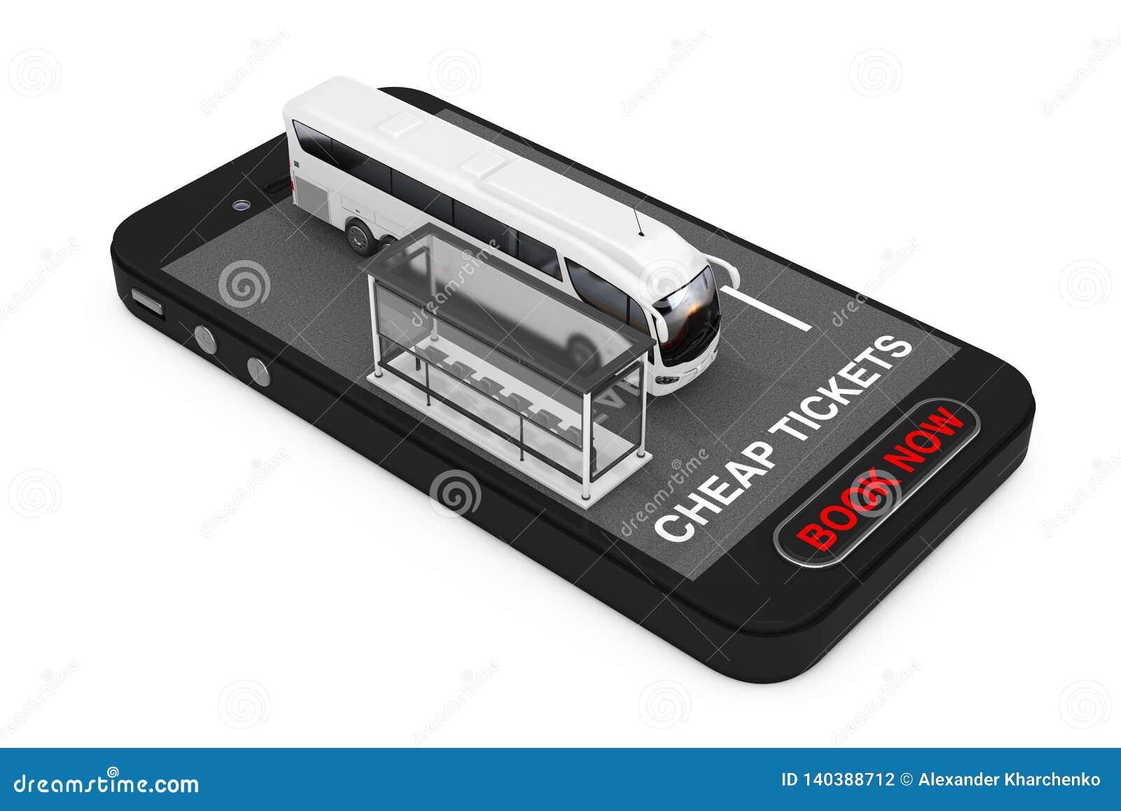 Το μεγάλο άσπρο τουριστηκό λεωφορείο λεωφορείων με τη στάση λεωφορείου πέρα από το κινητό τηλέφωνο με το φτηνό σημάδι εισιτηρίων