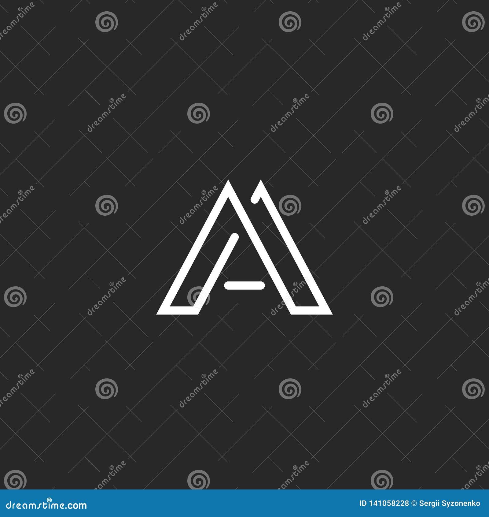 Το μονόγραμμα λογότυπων γραμμάτων Α, σχεδιάζει το λεπτό έμβλημα γραμμών hipster, γραπτή κομψή επαγγελματική κάρτα προτύπων