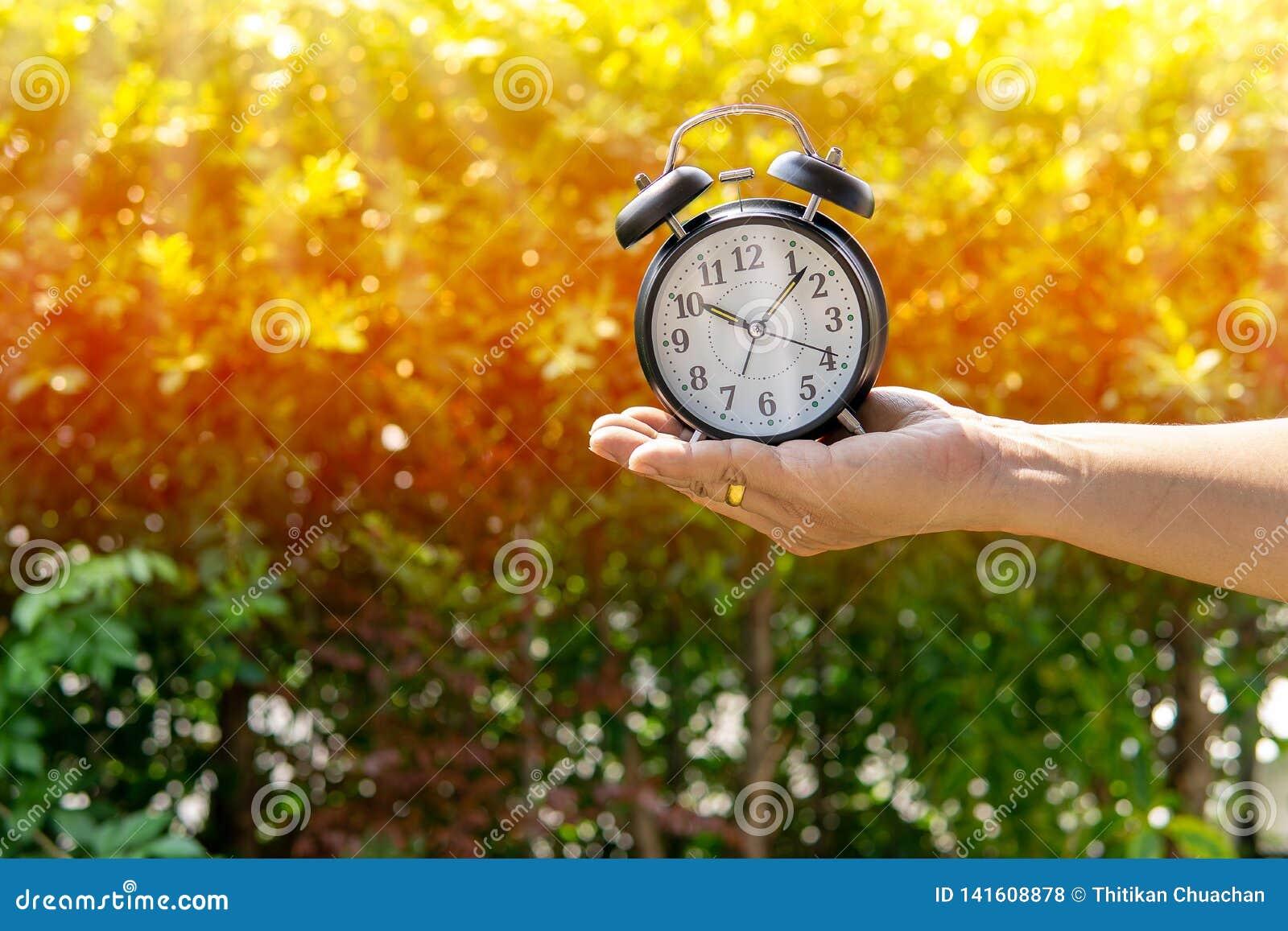 Το ξυπνητήρι εκμετάλλευσης ατόμων στον ήλιο και το υπόβαθρο πάρκων παρουσιάζουν έννοια του δοσίματος του χρόνου ή της διαίρεσης τ