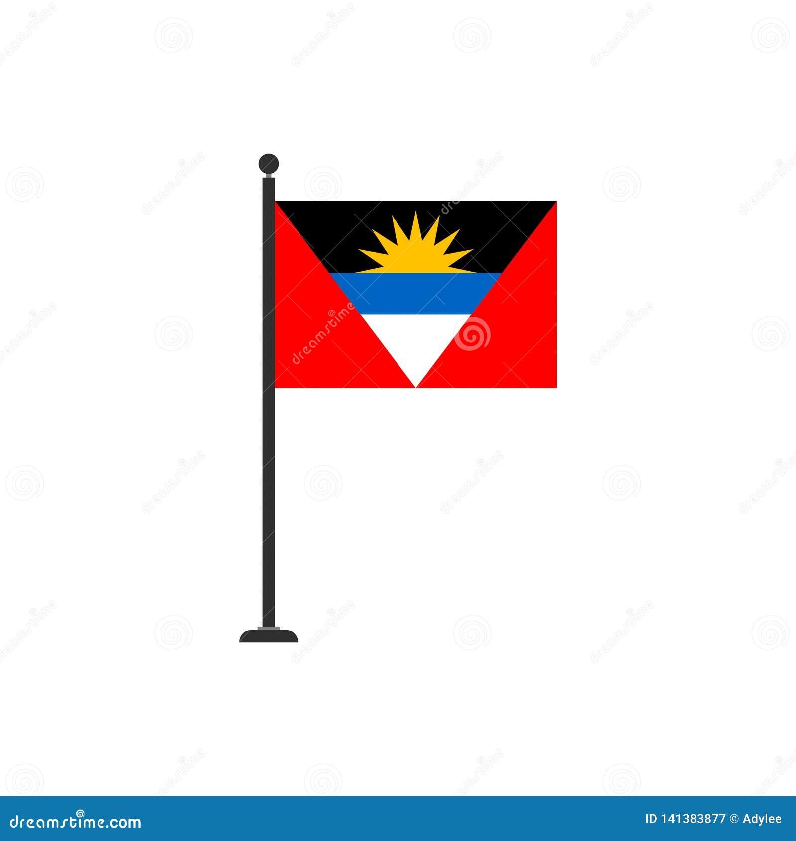Το διάνυσμα σημαιών της Αντίγκουα Μπαρμπούντα απομόνωσε 3