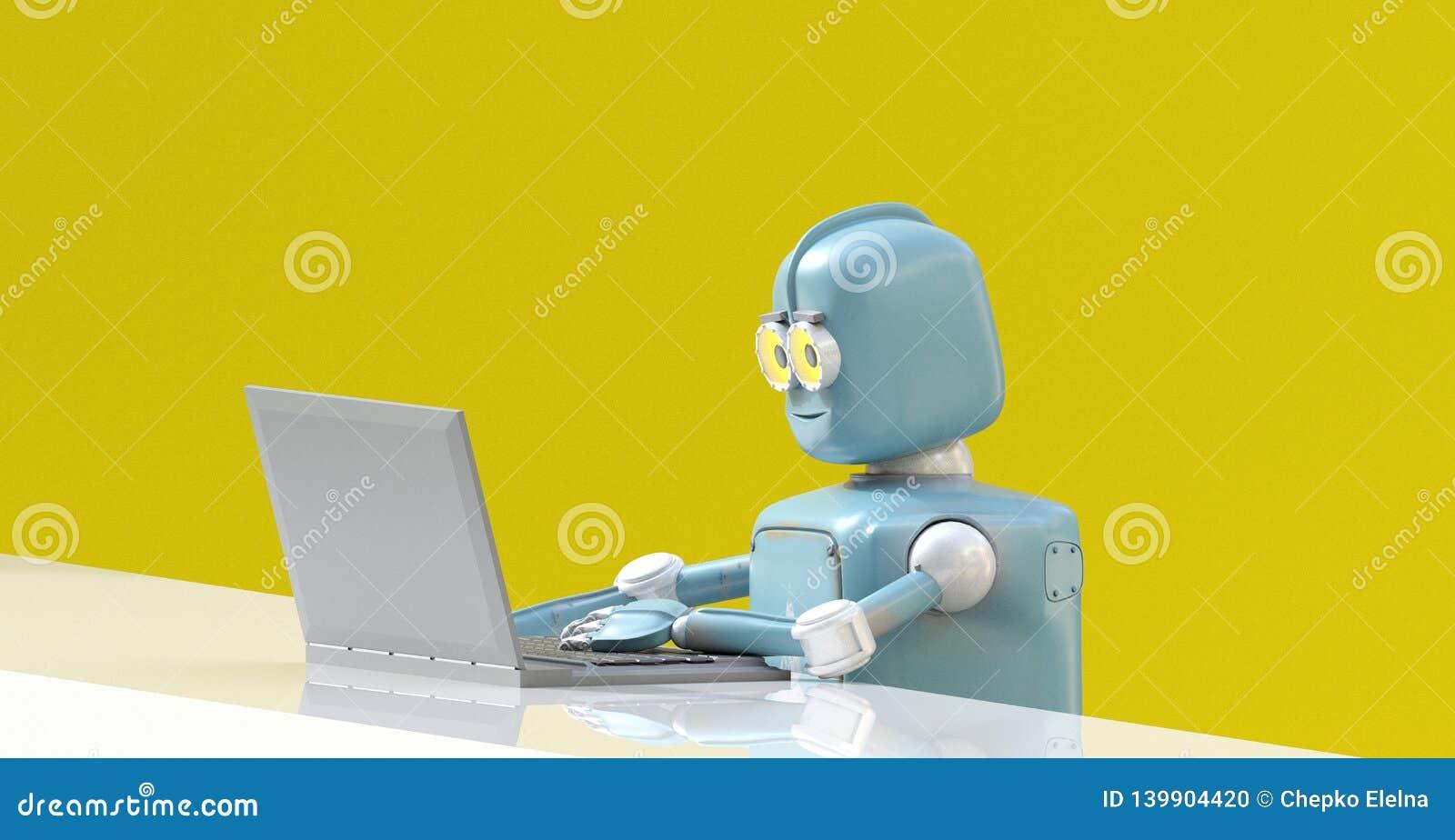 Το ρομπότ με το lap-top τρισδιάστατο δίνει