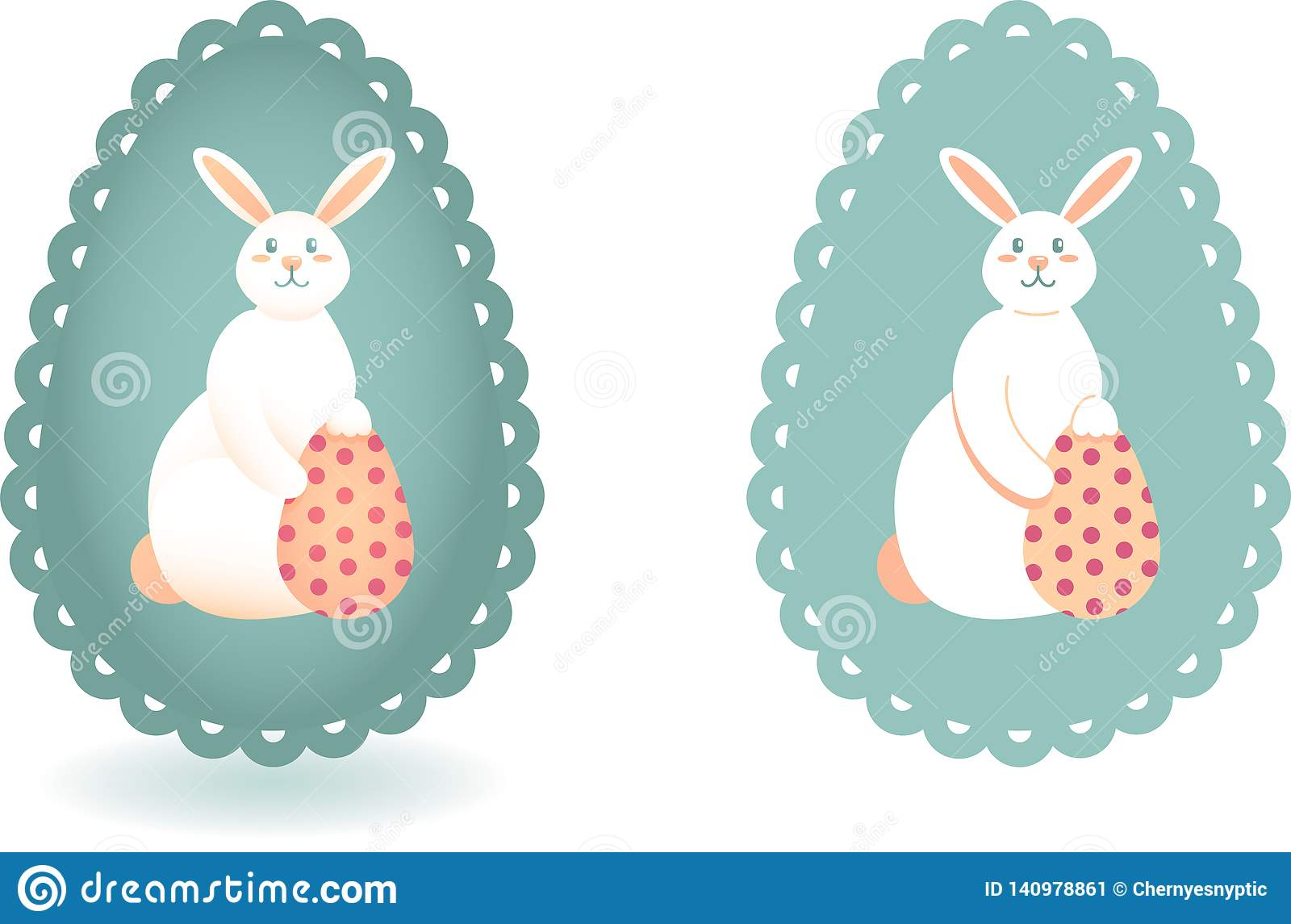 Το σύνολο δύο εικόνων του λαγουδάκι Πάσχας και το αυγό με την Πόλκα διαστίζουν το σχέδιο