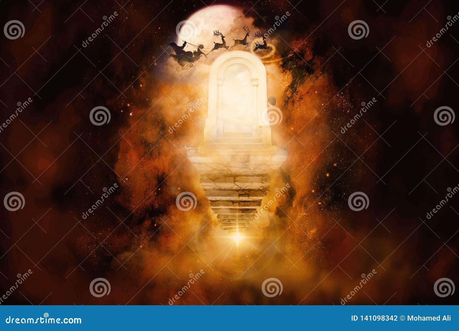 τρισδιάστατη δίνοντας απεικόνιση του έργου τέχνης πυλών ενός άλλου διαστατικού πολύχρωμου ουρανού