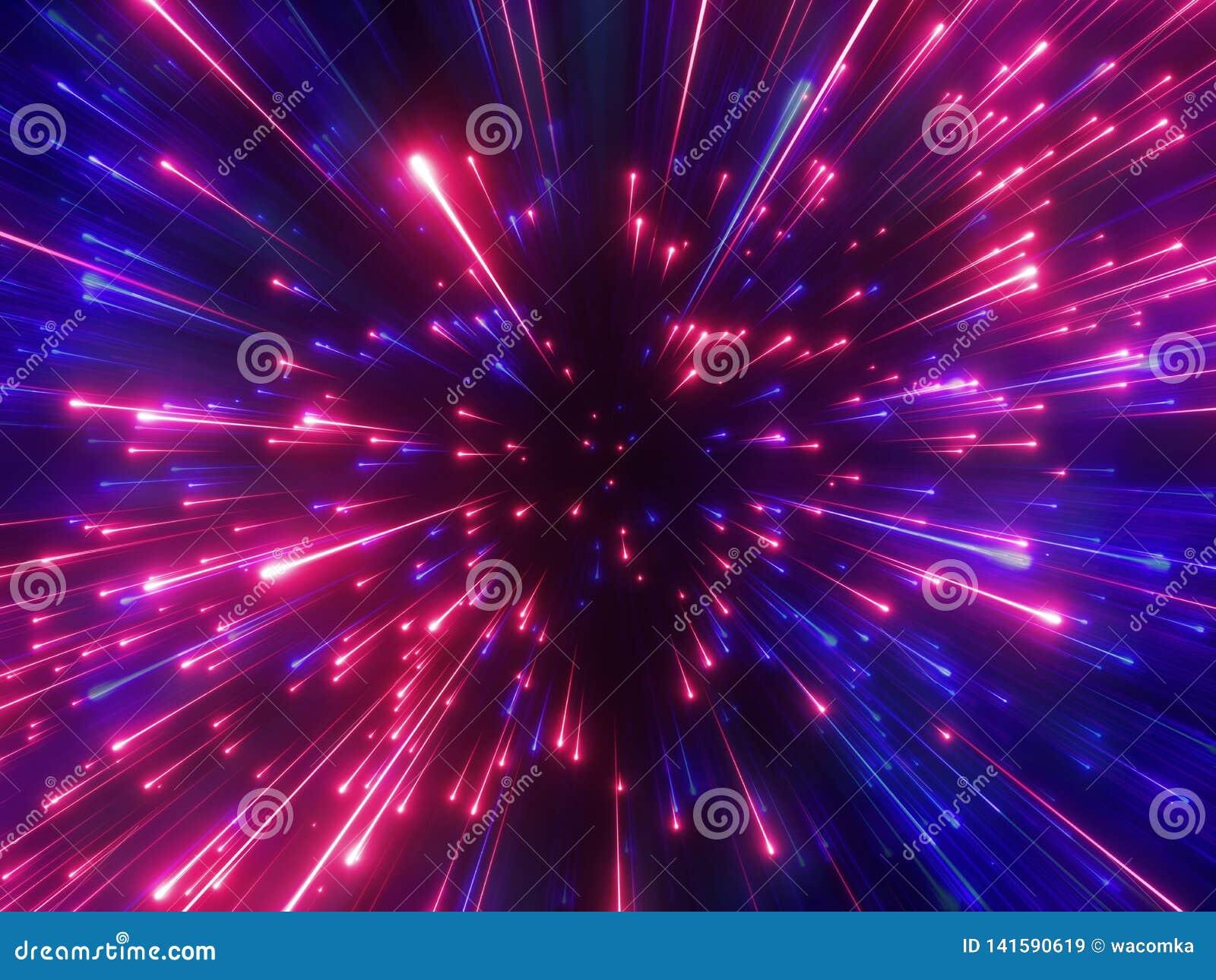 τρισδιάστατος δώστε, κόκκινα μπλε πυροτεχνήματα, μεγάλο κτύπημα, γαλαξίας, αφαιρεί το κοσμικό υπόβαθρο, ουράνιο, ομορφιά του κόσμ
