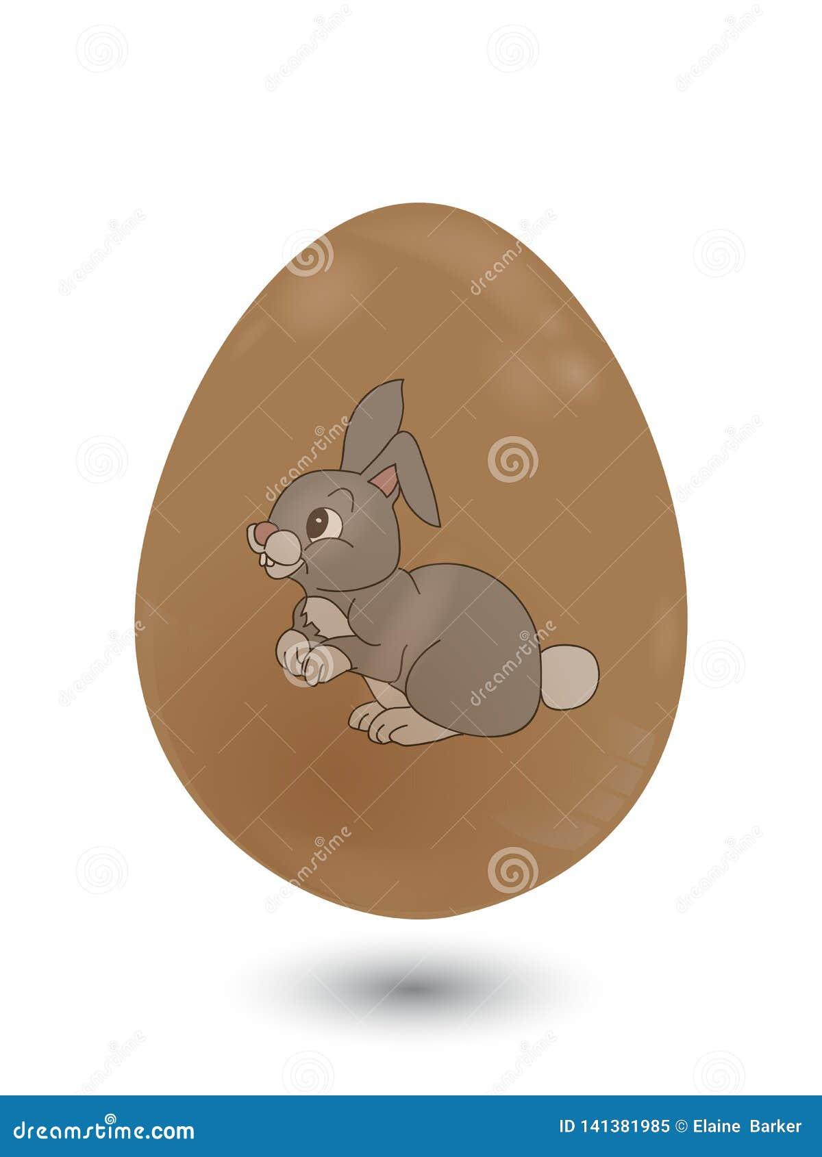 Τρισδιάστατο αυγό Πάσχας σοκολάτας με το λαγουδάκι στο λευκό