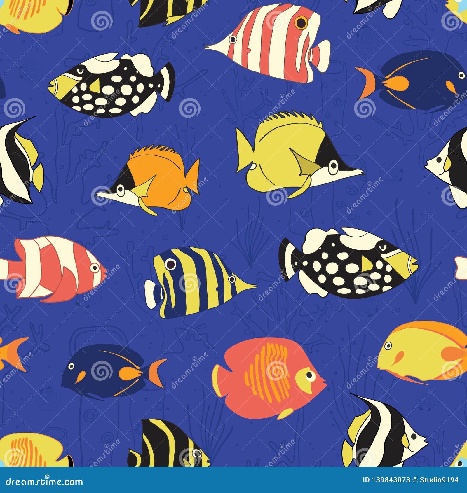Τροπικό άνευ ραφής διανυσματικό σχέδιο ψαριών σκοπέλων Κολυμπώντας ζωηρόχρωμο υπόβαθρο ψαριών Butterflyfish, κλόουν Triggerfish,