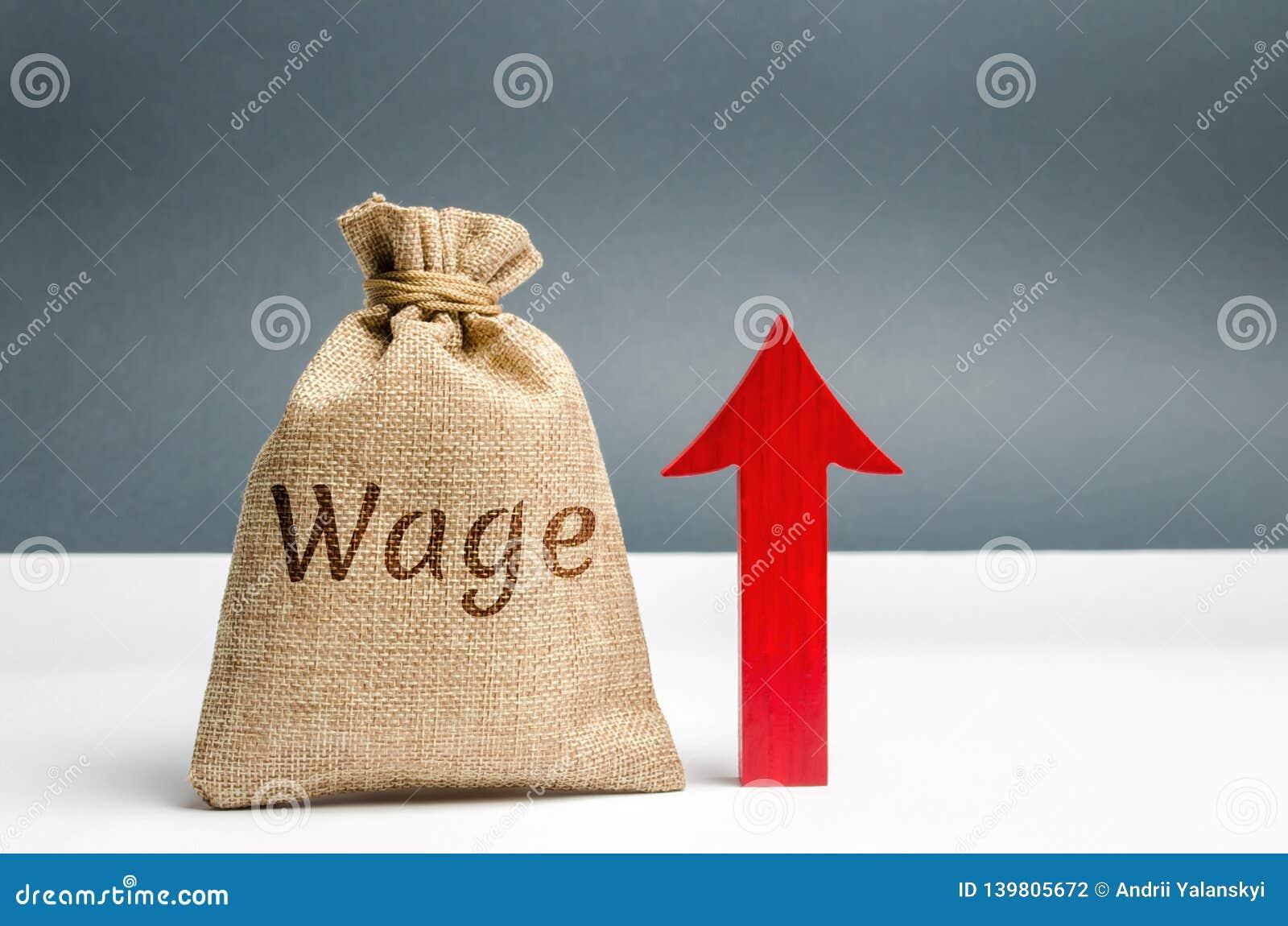 Τσάντα με τα χρήματα και την αμοιβή λέξης και επάνω στο βέλος Αύξηση του μισθού Ποσοστά αμοιβών διάνυσμα απεικόνισης s ανάπτυξης