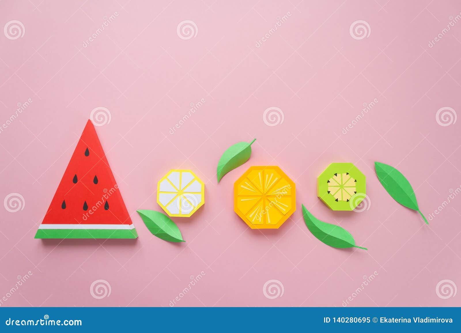 Φρούτα φιαγμένα από έγγραφο Ρόδινη ανασκόπηση Εκεί δωμάτιο ` s για το γράψιμο tropics Επίπεδος βάλτε