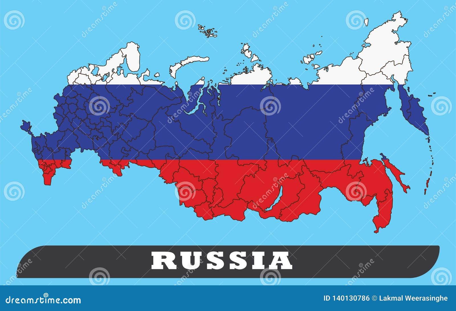 Χάρτης της Ρωσίας και σημαία της Ρωσίας