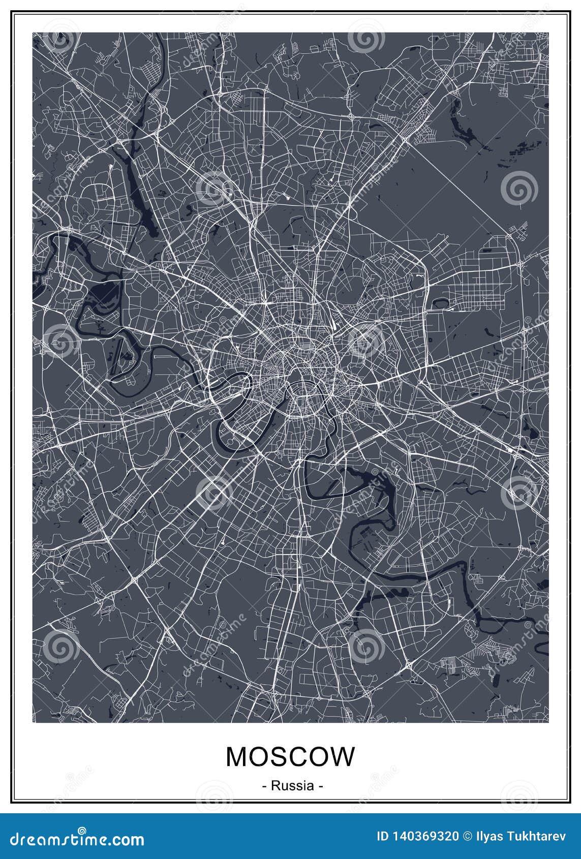 Χάρτης της πόλης της Μόσχας, Ρωσία