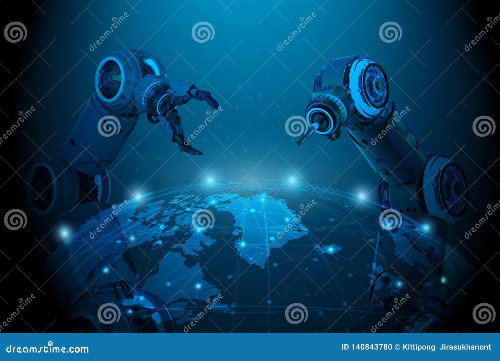 Χέρι ρομπότ με την παγκόσμια σύνδεση
