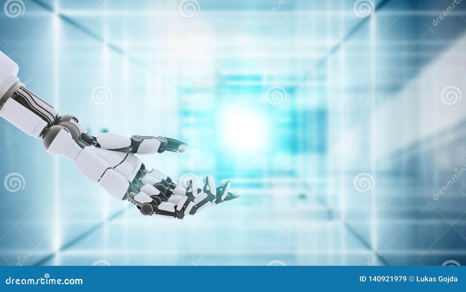 Χέρι ρομπότ που παρουσιάζει χειρονομία, που απομονώνεται στο άσπρο υπόβαθρο