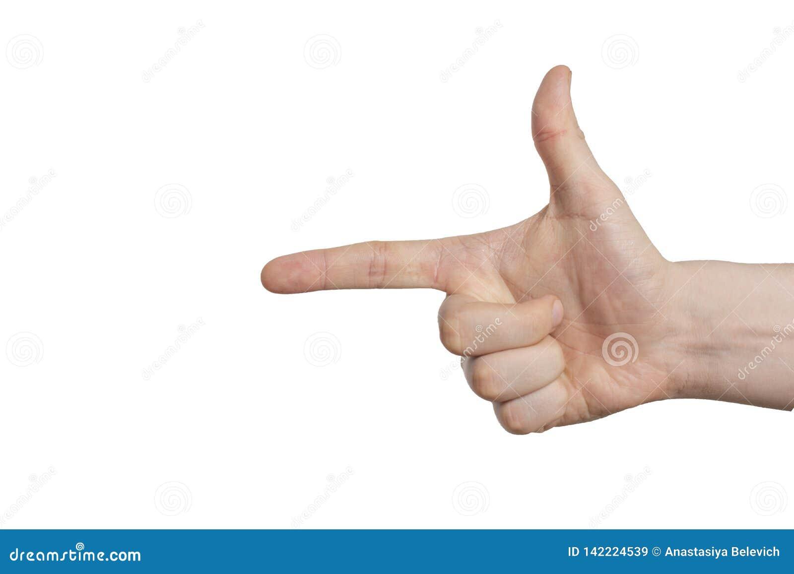 Χειρονομία πιστολιών χεριών στο απομονωμένο άσπρο υπόβαθρο Ο αντίχειρας παρουσιάζει κατεύθυνση
