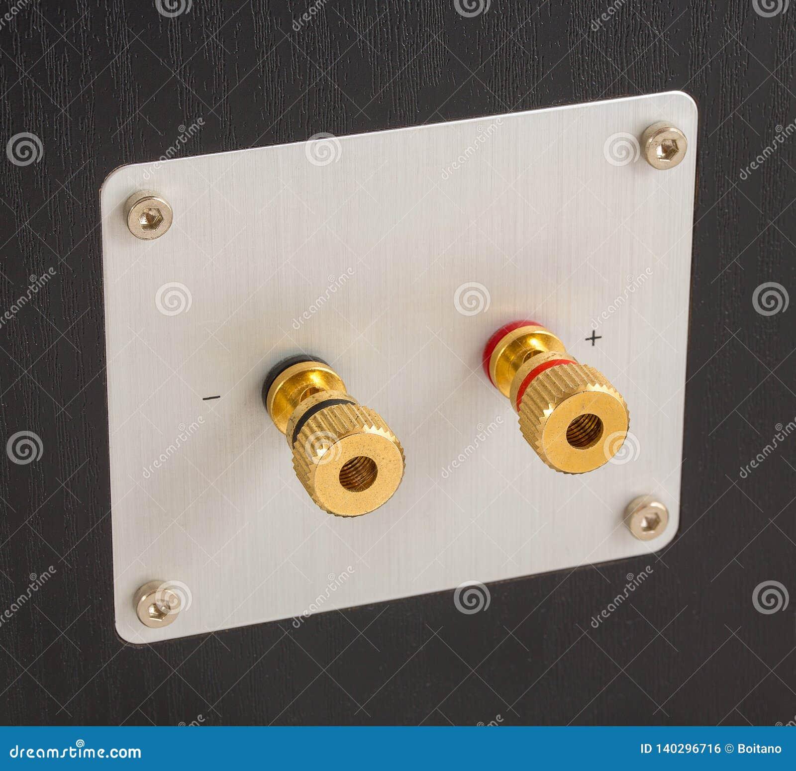 Χρυσά τερματικά παραγωγής μεγάφωνων στην πλάτη του ομιλητή Συνδετήρες για τη σύνδεση του καλωδίου ή του καλωδίου