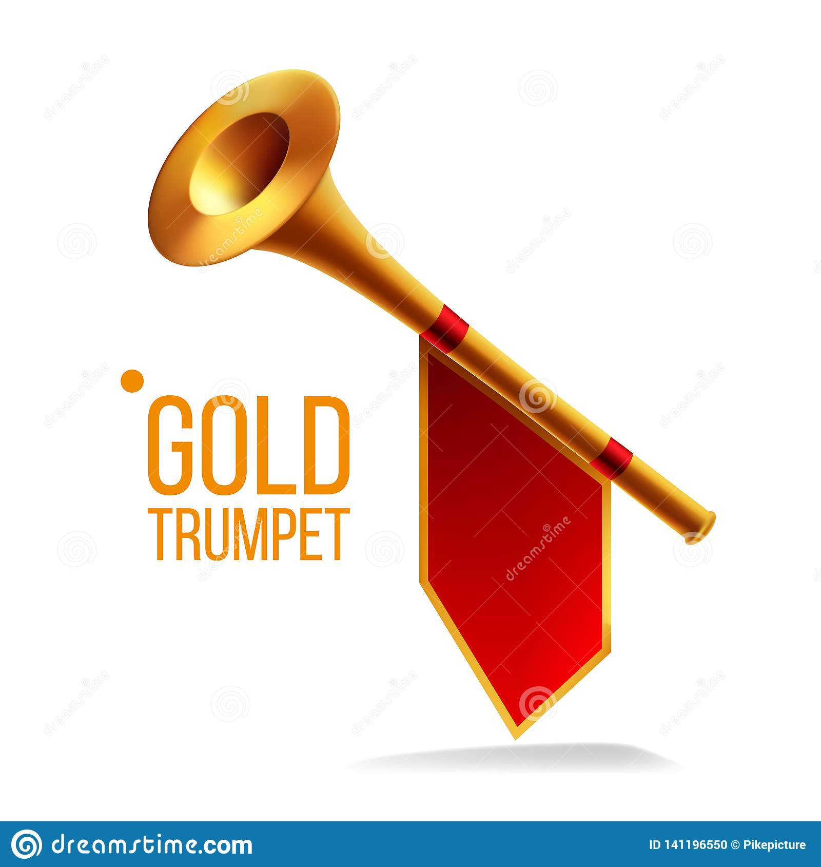 Χρυσό διάνυσμα σαλπίγγων Κέρατο φιλαρμονικών Μουσικός ανακοινώστε το αντικείμενο Δυνατό όργανο Απομονωμένη ρεαλιστική απεικόνιση