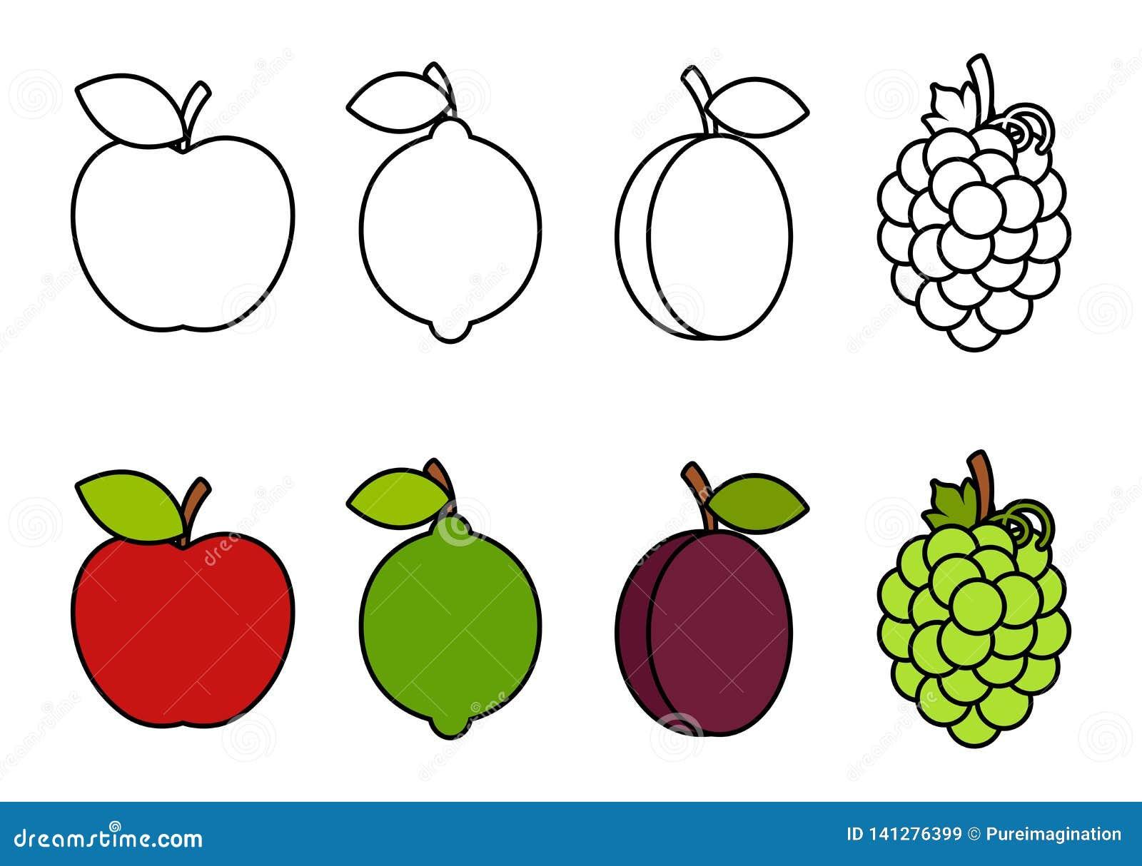 Χρωματίζοντας βιβλίο με τα φρούτα, που χρωματίζουν για τα παιδιά