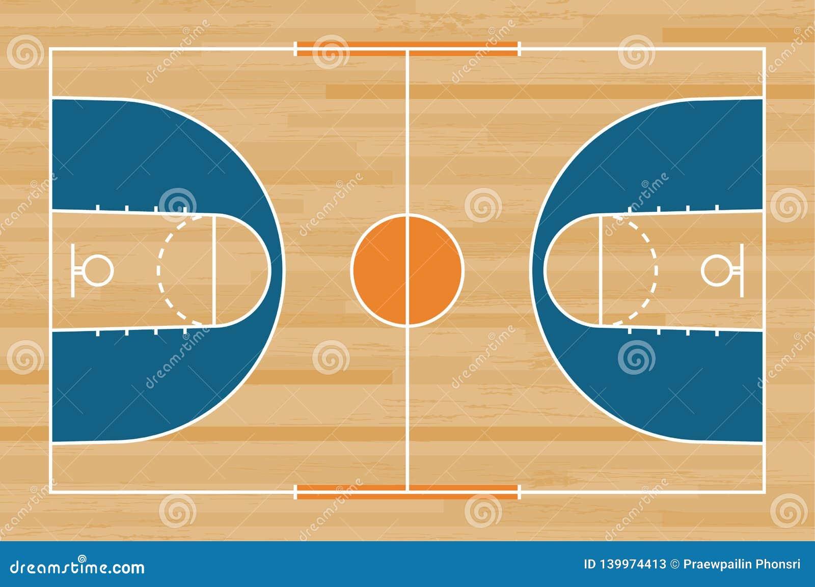 Πάτωμα γήπεδο μπάσκετ με τη γραμμή στο ξύλινο υπόβαθρο σύστασης σχεδίων Τομέας καλαθοσφαίρισης διάνυσμα