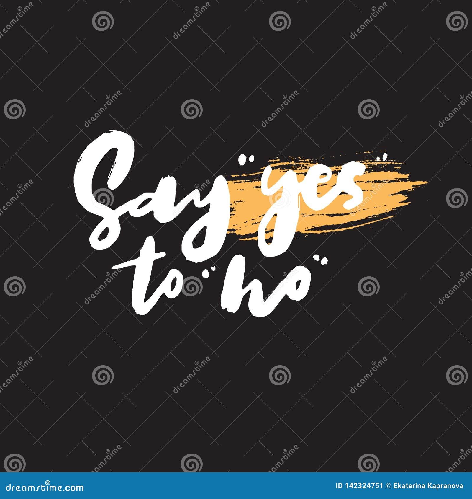Πέστε ναι στο αριθ. Αστείο γραπτό χέρι απόσπασμα wordplay διάνυσμα