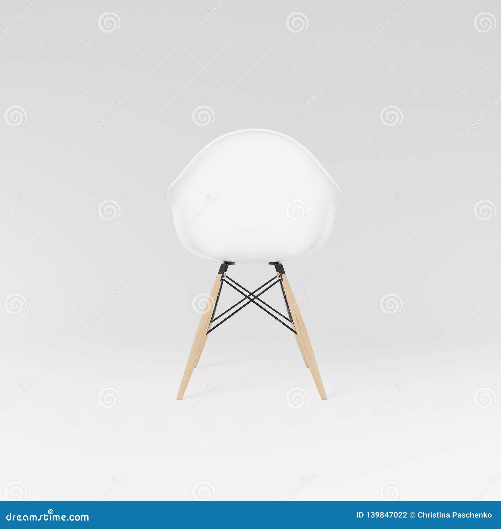 Πίσω άποψη της άσπρης dinning καρέκλας